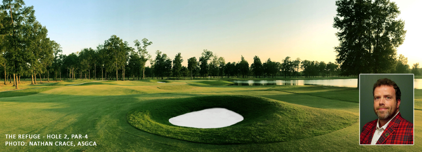 The new par-4 second hole at The Refuge following the renovation by Nathan Crace, ASGCA