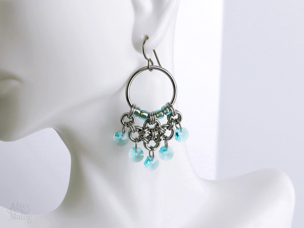 Turquoise Crystal Chandelier Earrings by Alyce n Maille as seen on Jane the Virgin