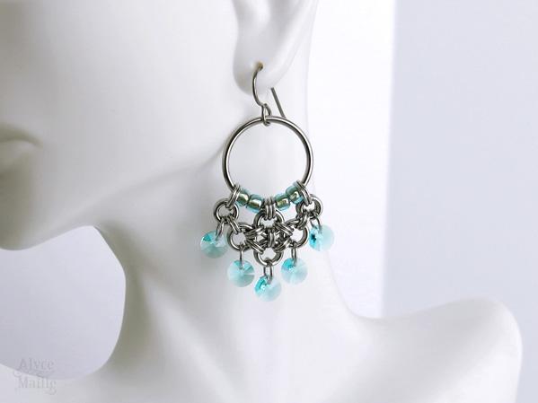 Turquoise Crystal Chandelier Earrings by Alyce n Maille as seen on Jane the Virgin