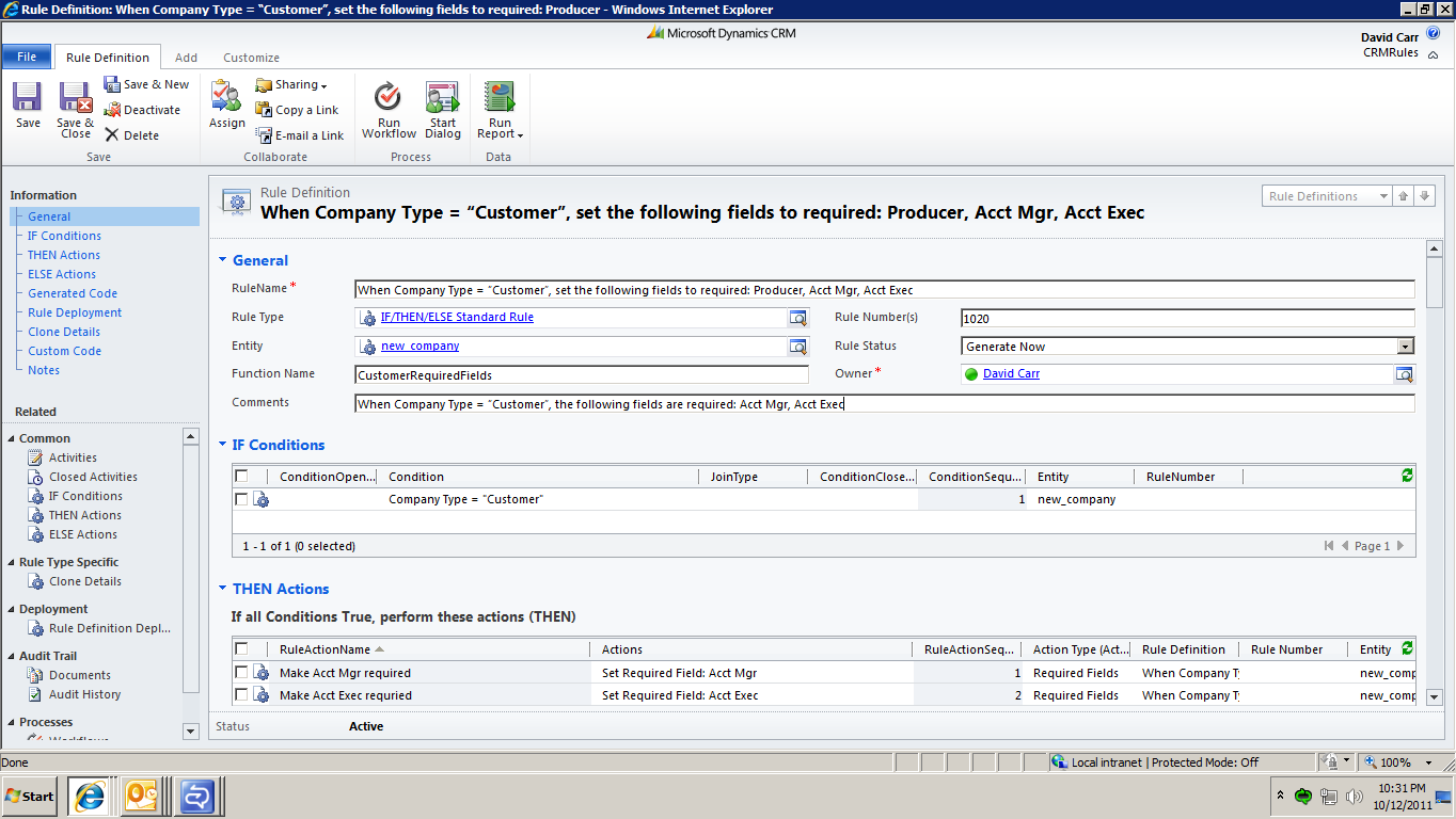 CRM Rules! screen shot using Microsoft Dynamics CRM 2011 forms