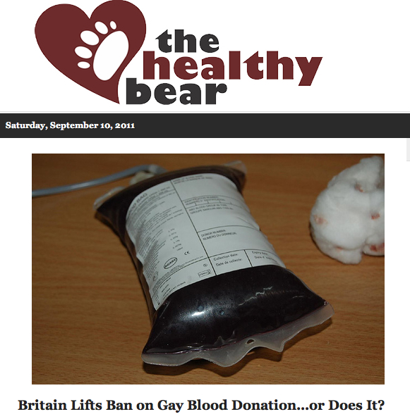 The Healthy Bear discusses lift on gay blood donation ban