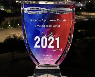 Pegasus Appliance Repair 2021 Dallas Award