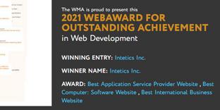 Intetics is a Winner of 3 WebAwards 2021