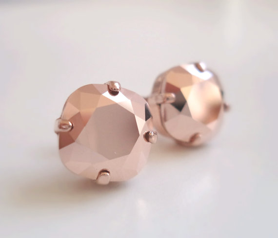 Rose Gold Crystal Studs