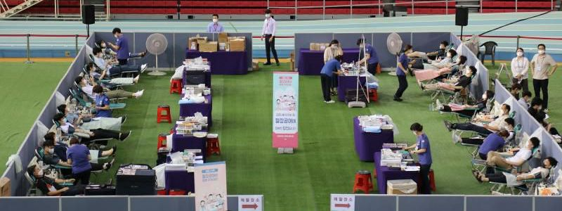 Members of Shincheonji donate convalescent plasma at the Red Cross in Daegu, South Korea.