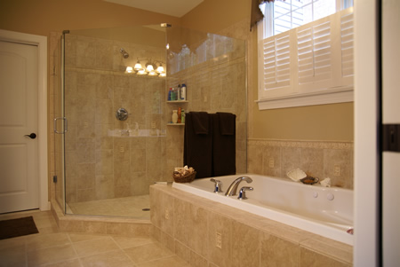 Whitestone Contracting Elegant Bathroom Renovation with Frameless Shower Doors