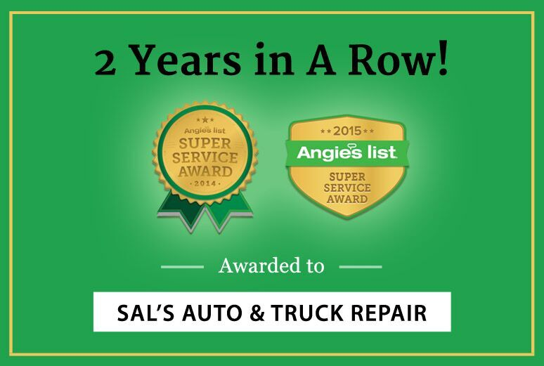 Sal's Auto & Truck Repair Receives Angie's List Super Service Award for Boston Auto Repair Shops