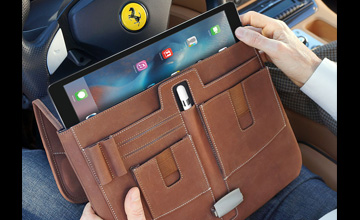 MacCase leather iPad Briefcase shown in Vintage