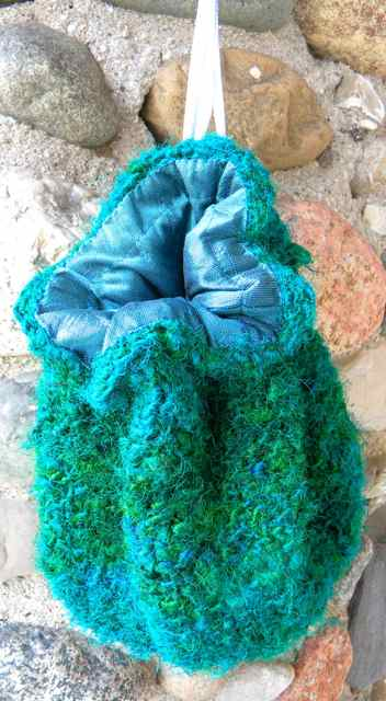 Jade Green Recycled Silk Jellybean Wristlet handcrafted by Rosy Toes Designs LLC