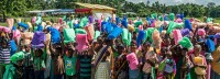 Families receiving mosquito nets