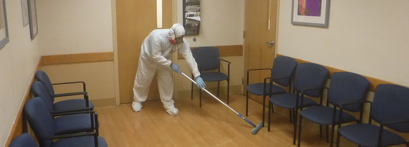 united restoration technician disinfecting microbial contaminates in a medical facility in florida