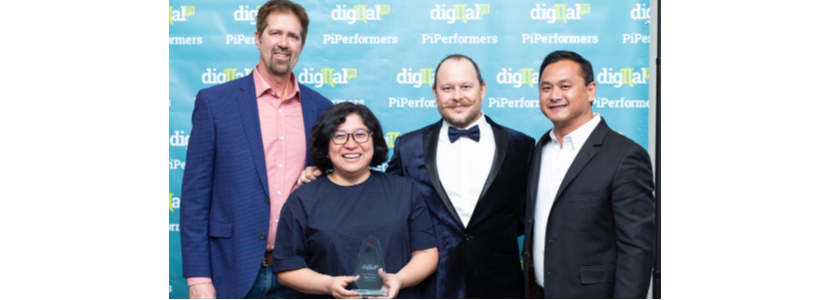 Rita Chen, A10 Networks named PiPerformer. Pictured with DigitaTom Grubb, Cristin Davis & Ryan V