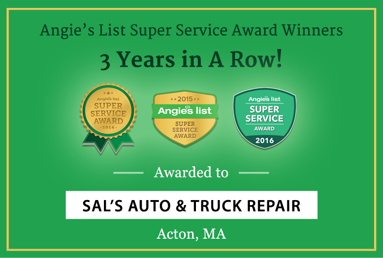 Sal's Auto & Truck Repair Acton Earns Angie's List Auto Rep Super Service Award third year
