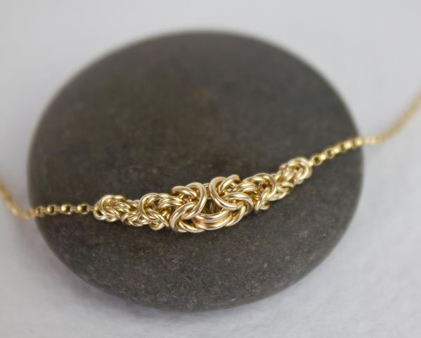 Simple Gold Byzantine Necklace