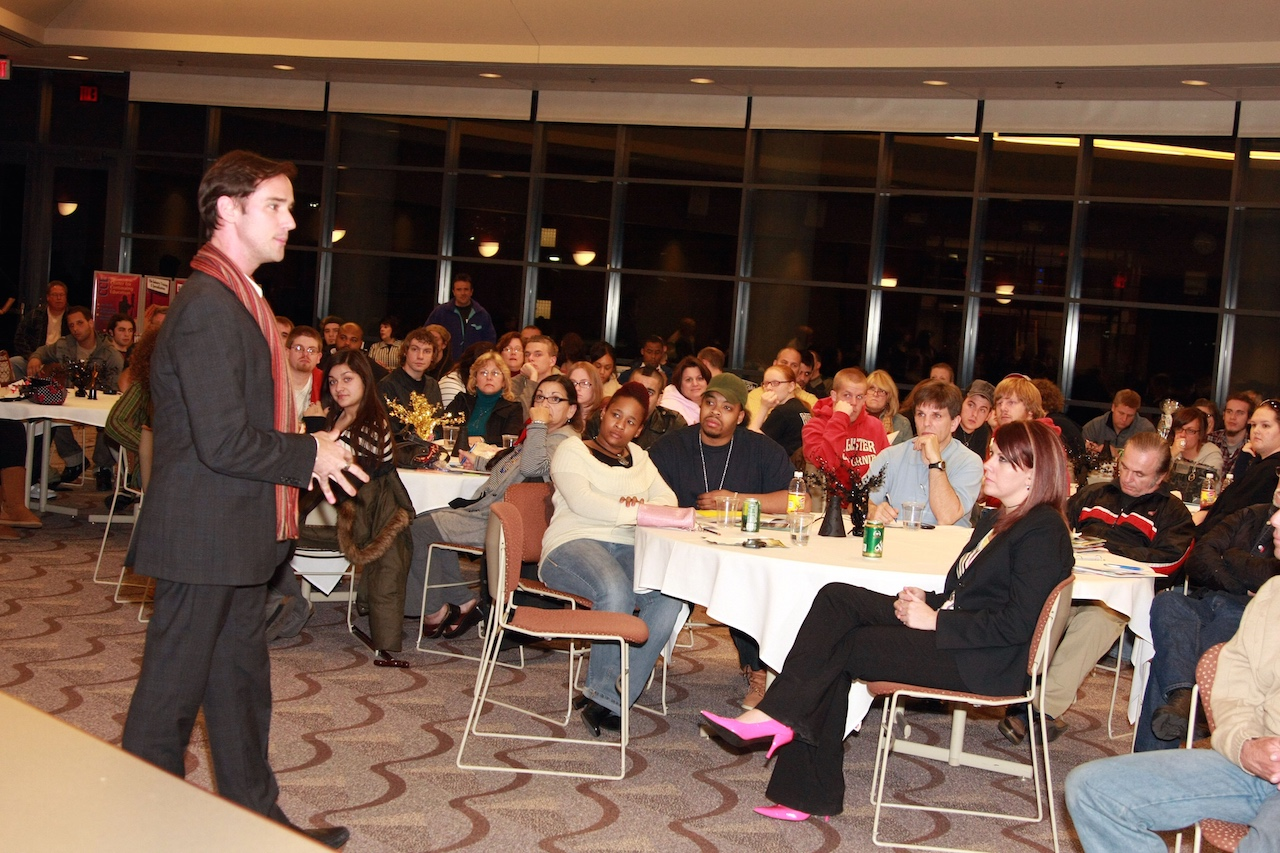 TV Host & Speaker Billy Lowe leads a motivational workshop at MacComb Community College in Michigan
