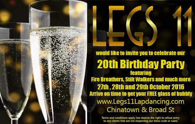 Legs 11 lapdancing 20th birthday celebration flyer