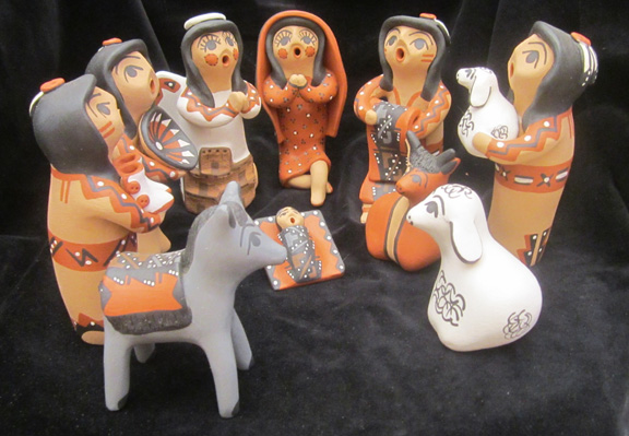 Felicia Fragua, Jemez, Pueblo pottery Nativity Set