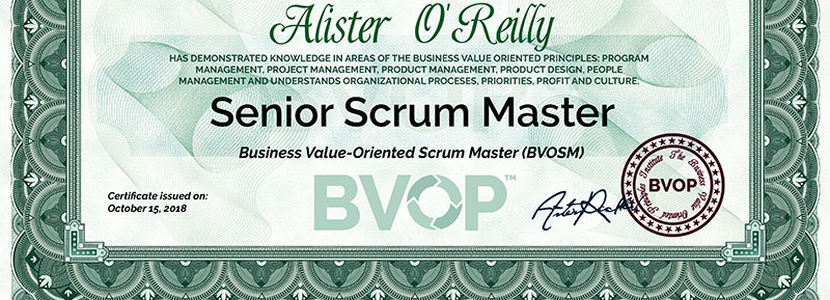 The BVOP Senior Scrum Master certificate
