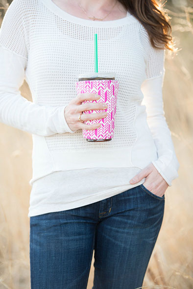 Iced Coffee Cozy in Pink Feathers