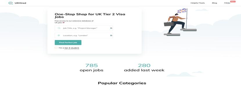UKHired website with UK jobs