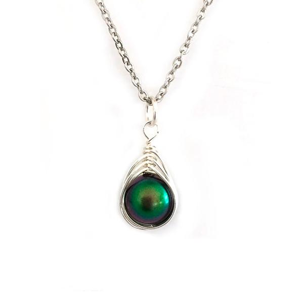 Scarab Green Swarovski Pearl Necklace